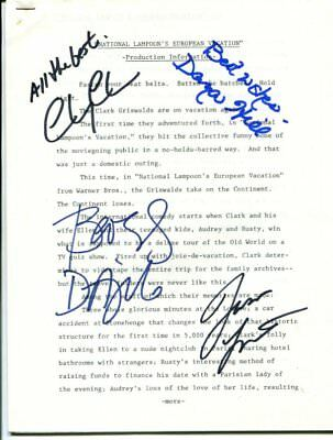 cast of all 4 NATIONAL LAMPOON'S EUROPEAN VACATION autograph HAND SIGNED  6576