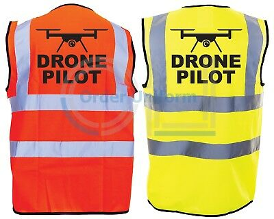 DRONE PILOT Hi-Vis Hi-Viz Visibility Safety Vest/Waistcoat Yellow/Orange S-4XL