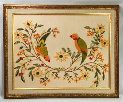 Vintage crewel framed embroidery.  Exotic birds / parakeets. Colorful flowers.