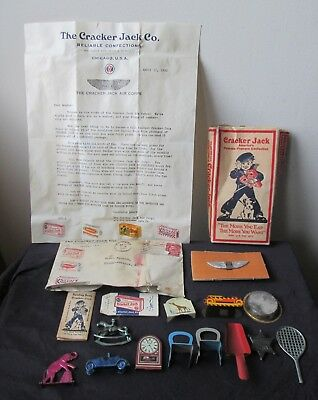 Collection Lot Old 1930s CRACKER JACK 17 items TOYs,Letter AIR CORPS Badge & BOX