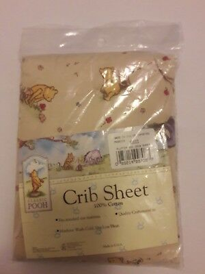 New Classic Pooh Flutter Bee  Baby 100% Cotton Crib Sheet Pooh & Piglet  Box A