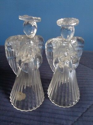 Vtg. Set Of 2 Stunning Lead Crystal Cut Design Angels/candle Holders-Taper-Usa