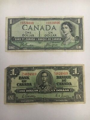 Vintage Bank of Canada 1 Dollar Bill Lot 1937 King George VI & 1954 Centennial