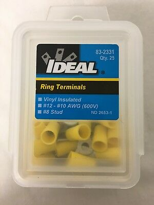 (NEW) Ideal 83-2331 Vinyl Insulated Ring Terminal / Crimps # 8 Stud ( Box of 25)