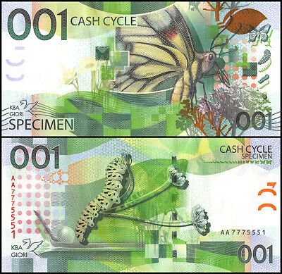 KBA Giori 001 Cash Cycle, UNC, Specimen, Test Note, Switzerland, Butterfly