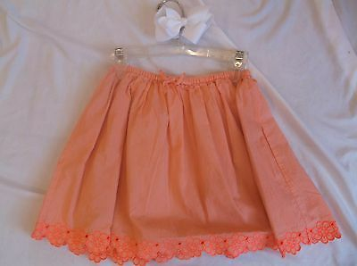CREWCUTS🌟SZ 8🌟SKIRT🌟Cute Orng/Pnk Sherbert Lined Neon Flwrs Embr Bottom *BOW