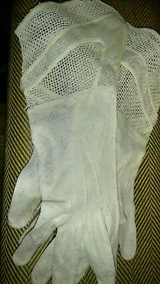 Antique Pair Of White Gloves With French Cuffs & buttons very stylish rare