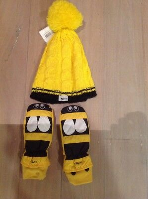 KAOS ski Gloves Yellow Sz M (5-6) Yellow Bobble Hat