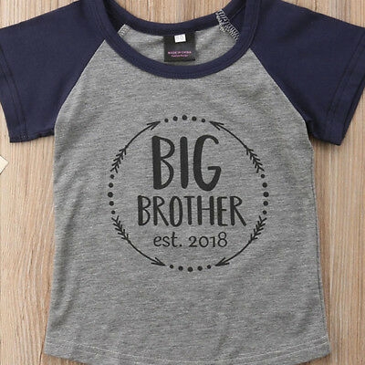 Big Brother 2018 Toddler Boy Kids Summer T-shirt Casual Cotton Graphic Tee Tops