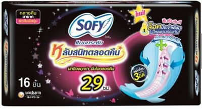 Sofy sanitary napkin  night slim compact with wings 16 pcs cloth 	polyester