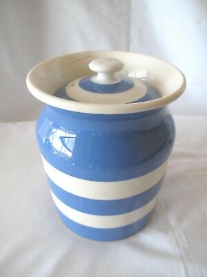 Large Lidded Cornish Ware Canister With Judith Onions Back Stamp