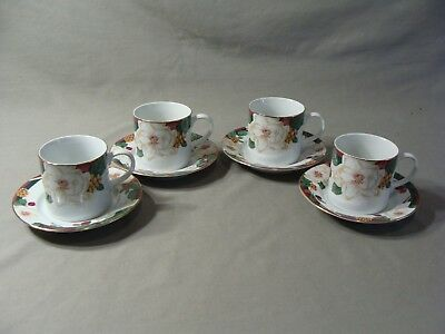 4 Tienshan Fine China Cups & 4 Saucers In The Magnolia Pattern
