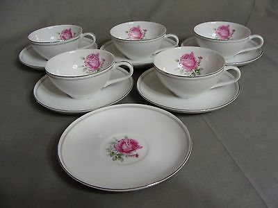 5 Fine China Of Japan Cups & 6 Saucers In The Imperial Rose #6702 Pattern
