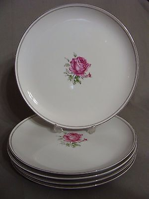 """5 Fine China Of Japan 10 1/2"""" Dinner Plates In The Imperial Rose #6702 Pattern"""
