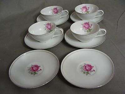 4 Fine China Of Japan Cups & 6 Saucers In The Imperial Rose #6702 Pattern