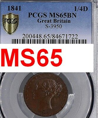1841 Uk Great Britain Farthing Pcgs Ms65-Very Scarce Grade-Pop 1/0 At Pcgs