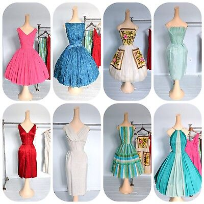 Vtg 8pc 50s 60s Prom Party dress Lot NOS Silk Designer chiffon mermaid pencil