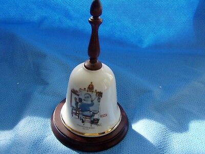"""Norman Rockwell """"Tripple Self Portrait"""" Bell with base 1979"""