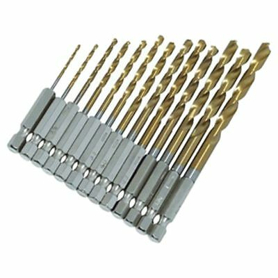 13Pc HSS Titanium Coated Drill Bit Set With 1/4inch Hex Shank O1M4