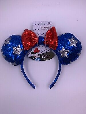 New Disney Minnie Mouse Red White & Blue Silver Star Sequin Ears 4th Of July