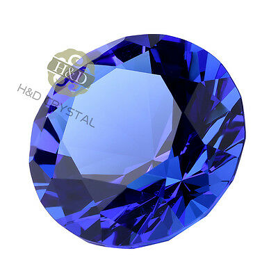40mm Paper Weight Blue Diamond Cut Crystal Glass Wedding Favor Party Craft Gifts