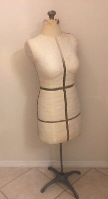 Antique Acme Mannequin Women's Dress Form Adjustable Fabric Covered Metal Stand