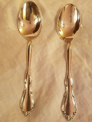 TWO Lovely Towle Fontana Large Sterling Silver Serving Spoons!