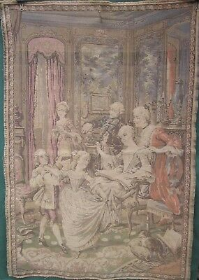 1900's ANTIQUE FRENCH VICTORIAN TAPESTRY Signed J. STEVAERT BELGIAN FLEMISH