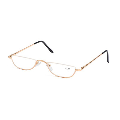 f4c6c21eb00 New Unisex Vintage Small Moon Half Rimless Reading Glasses Readers+1.0~+4.0  Gold