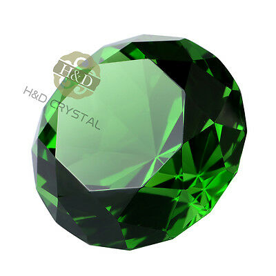 40mm Green Crystal Diamond Cut Shape Paperweight Glass Gem Display Ornament Gift
