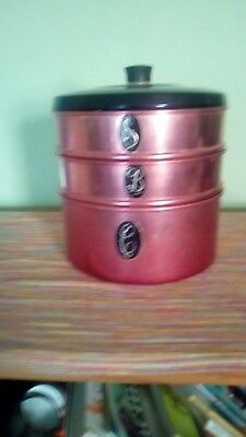 Retro pink anodised stacking canisters