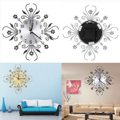 35Cm Round Black Silver Wall Clock Diamante Beaded Jeweled Bling Sunburst Metal