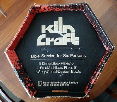 Boxed Vintage Retro Kiln Craft Table Service for Six Persons 'Bacchus' 18 Piece