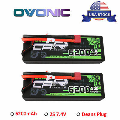 2X 50C 2S 6200mAh 7.4V RC Lipo Battery Pack Deans Plug For Car Truck Buggy Hobby