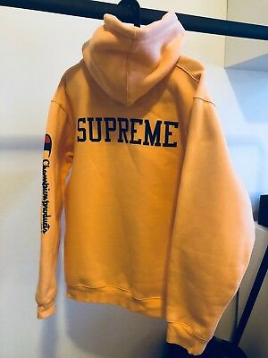 3e5210834155 SUPREME X CHAMPION Hooded Sweatshirt Peach - $155.00 | PicClick