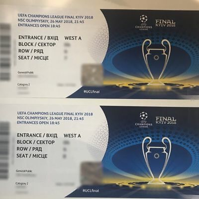 2 Tickets CAT 2 for UEFA CHAMPIONS LEAGUE FINAL Kiev 26th May 2018