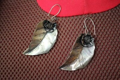 Tribal exotic chinese handmade miao silver Leaves Earrings EH058