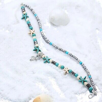 Silver Star Fish Turtle White/turquoise Boho Chain  Anklet Beach Festival ..sft2