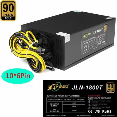 1800W Certificated 93% Mining Power Supply PSU BTC ETH Crypto Coin Rig Miner SU