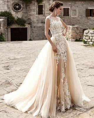 Champagne Lace Formal Wedding Ball Party Prom Bridesmaid Bridal Evening Dresses