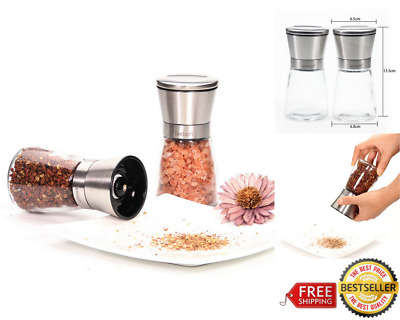 2 Pcs Home Commercial Kitchen Salt & Pepper Grinder Set Adjustable Ceramic Rotor