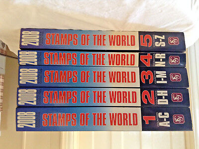 Stanley Gibbons Stamps of the World Catalogue/s (complete 5 volumes 2008 )