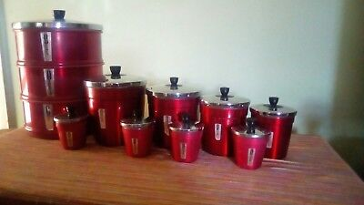Retro vintage red anodised canisters