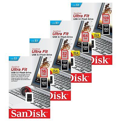 Sandisk 16/32/64/128GB CZ430 Ultra Fit USB 3.1 Flash Speicherstick 130MB/s MAY