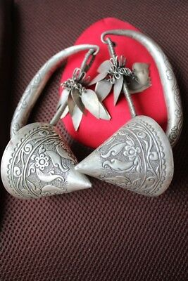 Tribal exotic chinese handmade miao silver big earring EH063