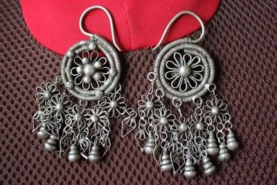 Tribal exotic chinese handmade miao silver earring EH065