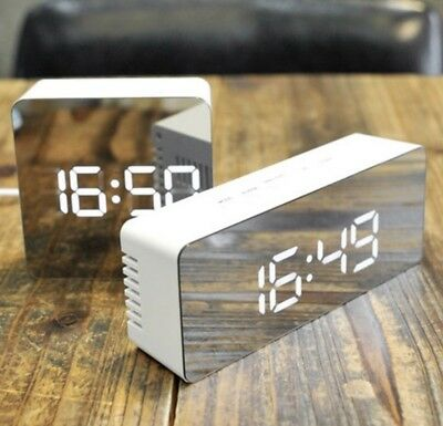 Digital LED Mirror Alarm Clock Light With Temperature Bedside LED