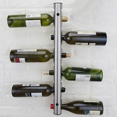 Wine Rack Stainless Steel Wall Mounted Champagne Bottle Stand Kitchen Bar Holder