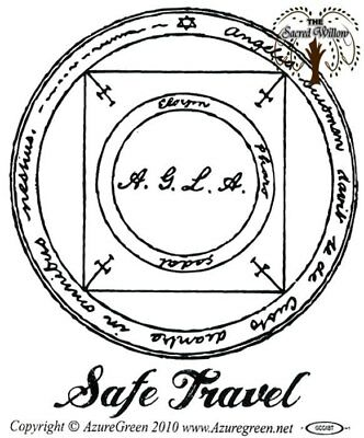 Safe Travel Talisman Bumper Sticker 9.2cm x 7.5cm New Age Witch Wicca