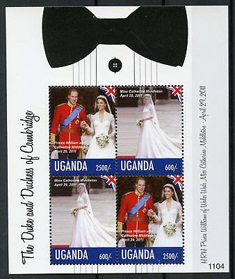 Uganda 2011 MNH Royal Wedding Prince William Kate Middleton 4v M/S I Stamps